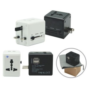 Travel adaptor with dual USB supplier Malaysia, silkscreen print logo, good quality and fast delivery.