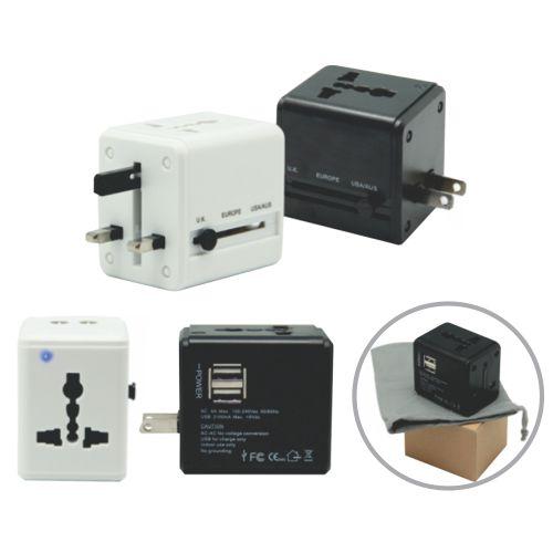 Travel Adaptor Dual USB- White & Black